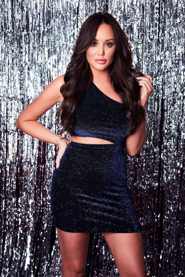 CHARLOTTE CROSBY NAVY GLITTER VELVET ASYMMETRIC CUT OUT MINI DRESS