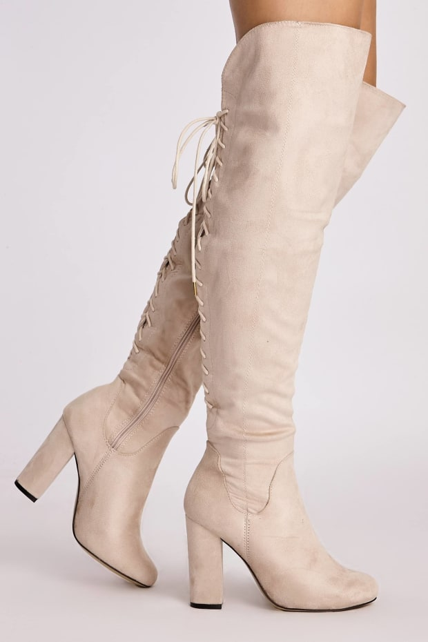 LEIZAL NUDE FAUX SUEDE LACE UP BACK OVER KNEE BOOTS