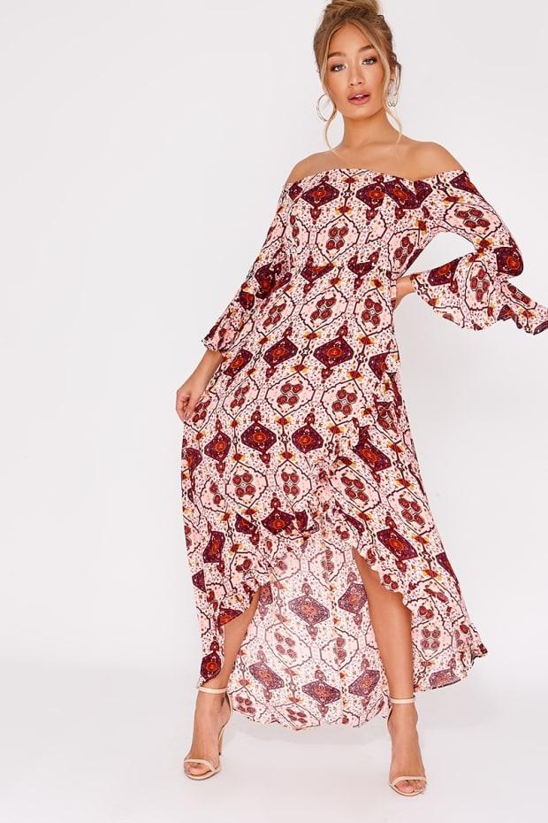 ATIAH PINK AZTEC FRILL BARDOT MAXI DRESS