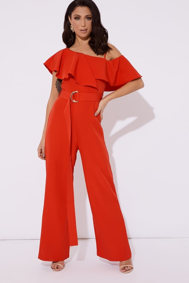 JESSY RED FRILL ONE SHOULDER BELTED WIDE LEG JUMPSUIT