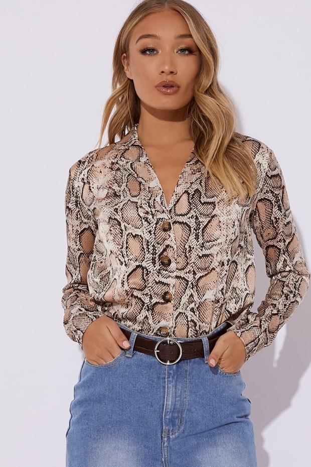 89602919f6d Okea Brown Snake Print Shirt