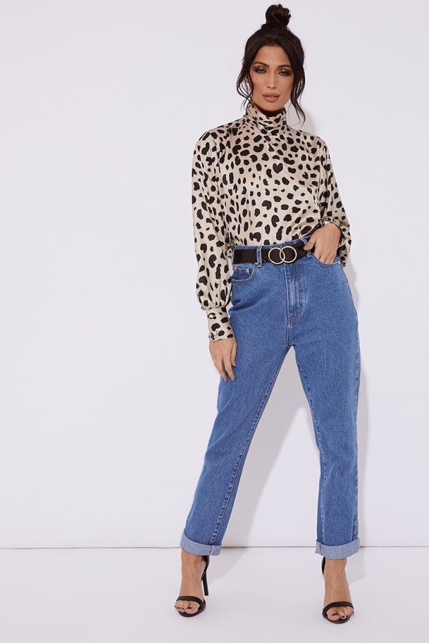 DELIA HIGH NECK LEOPARD PRINT SATIN CROPPED TOP