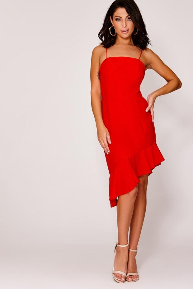 ROSHEL RED ASYMMETRIC FRILL CAMI DRESS