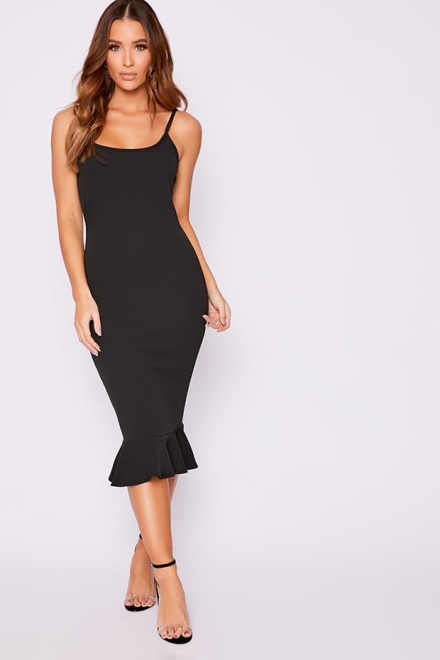 DYANII BLACK FRILL HEM MIDI DRESS