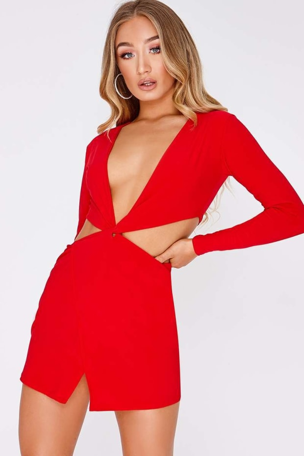 NEELA RED SLINKY TWIST FRONT CUT OUT SIDE MINI DRESS