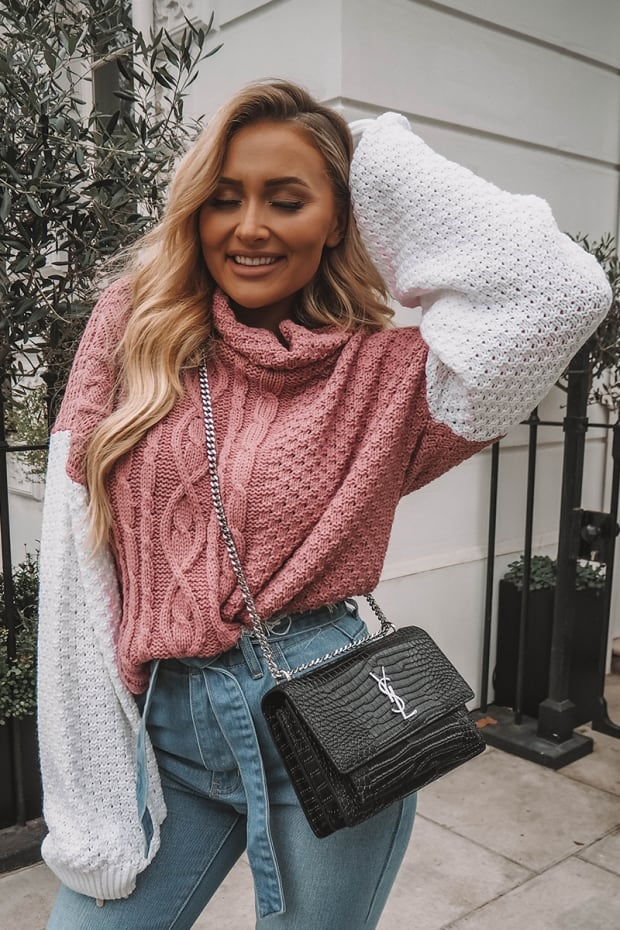 SARAH ASHCROFT PINK AND WHITE CABLE KNIT JUMPER