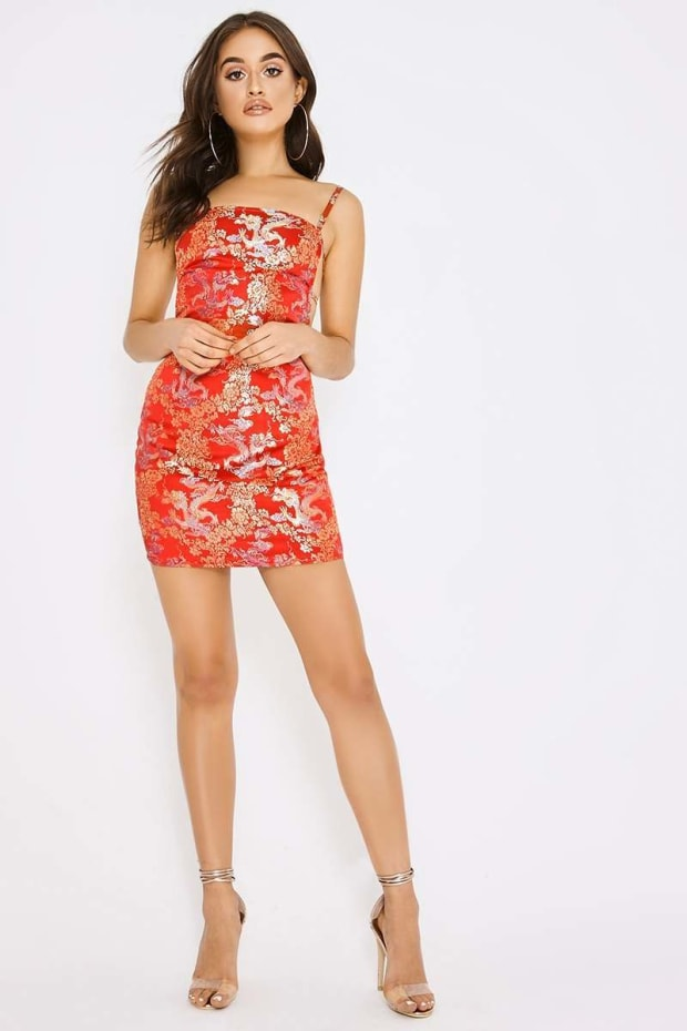 5849ffcd61 PIA MIA RED ORIENTAL JACQUARD LACE UP BACK BODYCON DRESS. Next