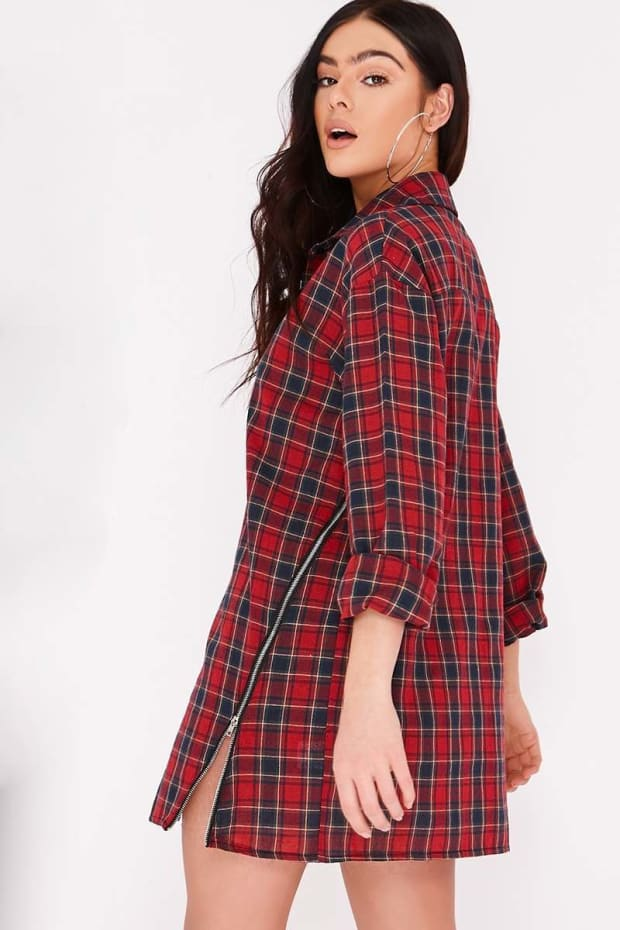 89513bdff5f9b PIA MIA RED CHECK ZIP FRONT SHIRT DRESS. Next