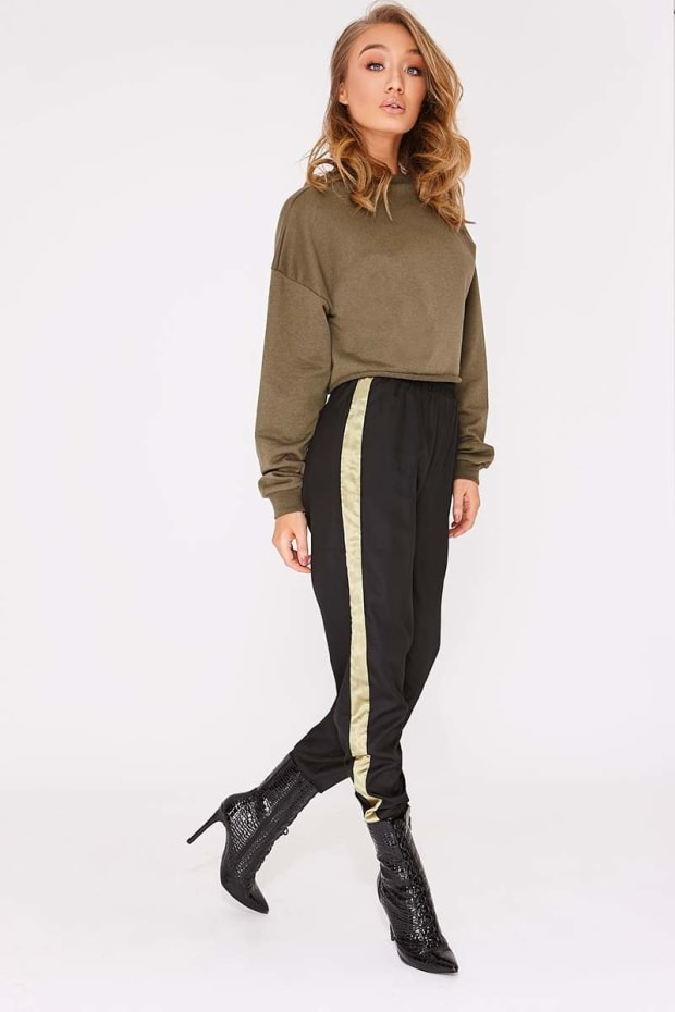 KADIE BLACK CARGO STRIPE TROUSERS