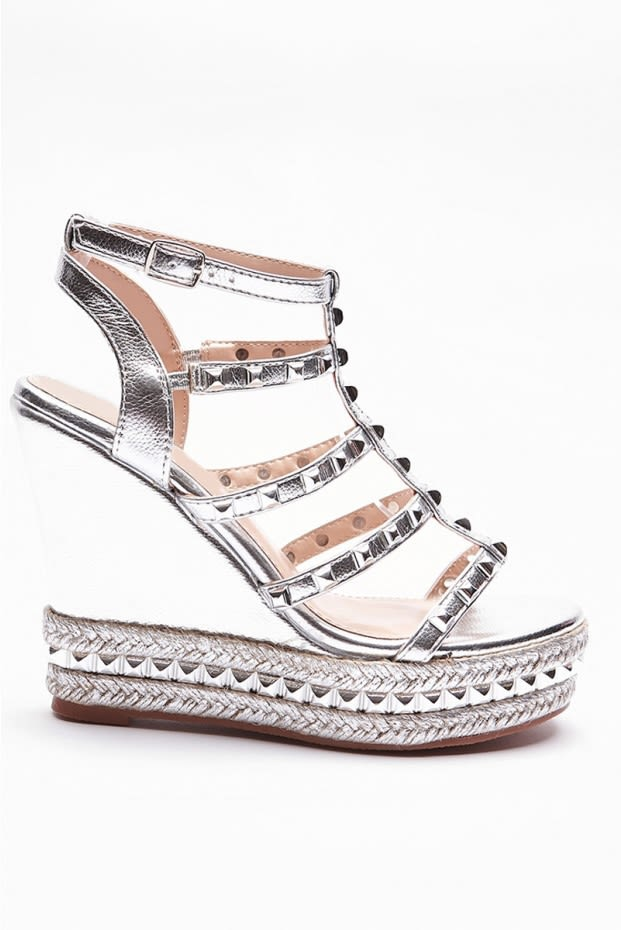 SALEEMA SILVER STUDDED STRAP WEDGES