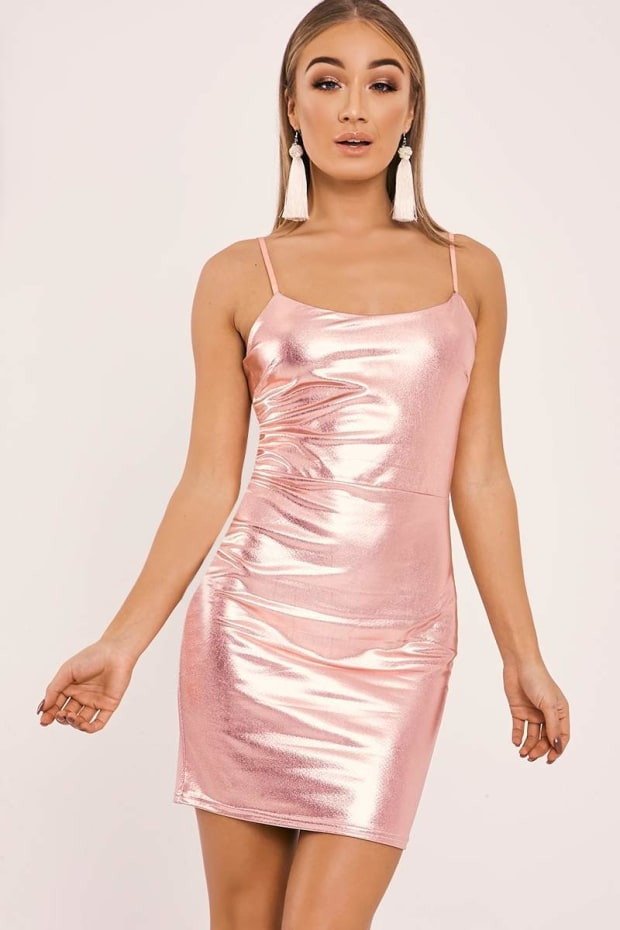 DEVAN ROSE GOLD FAUX LEATHER STRAPPY BODYCON DRESS
