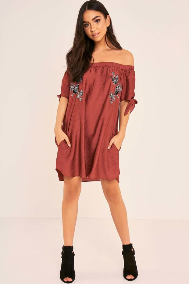 BINKY WINE FLORAL EMBROIDERED TIE SLEEVE BARDOT SWING DRESS
