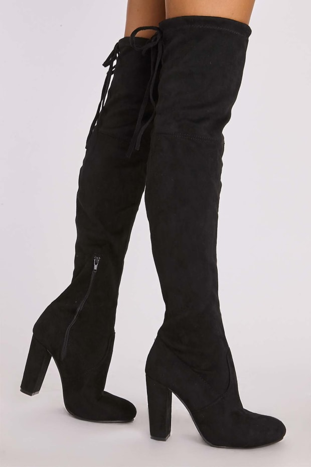 de31214b4bd Remi Black Faux Suede Over The Knee Heeled Boots