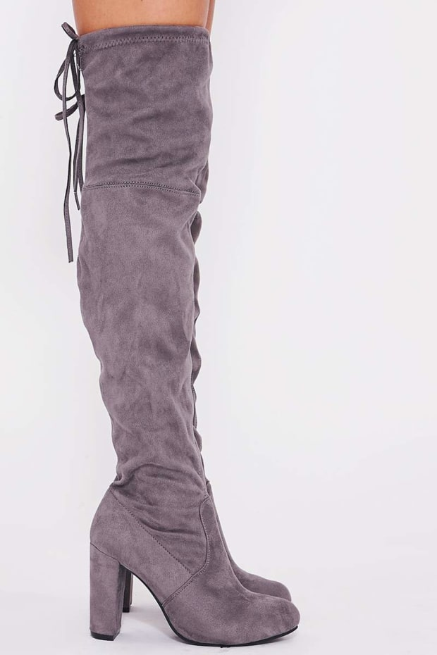 d3c74358795 REMI GREY FAUX SUEDE OVER THE KNEE HEELED BOOTS. Previous
