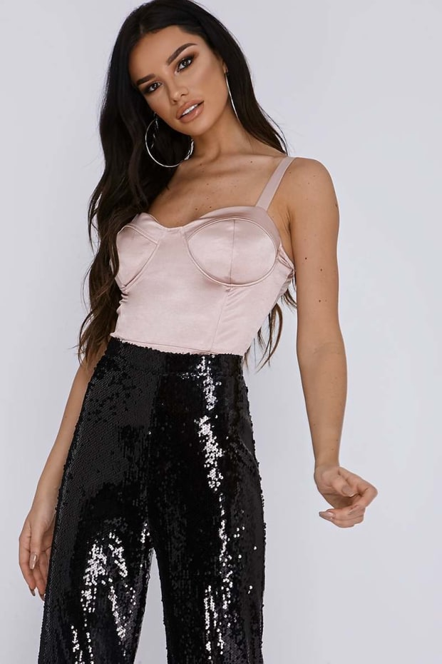 SARAH ASHCROFT ICY PINK STRETCH SATIN CUPPED BODYSUIT
