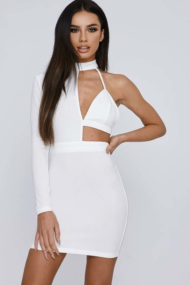 SARAH ASHCROFT WHITE ASYMMETRIC HIGH NECK MINI DRESS