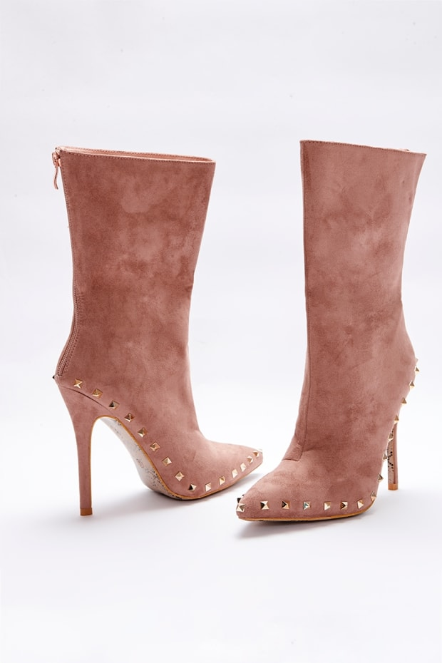 SARAH ASHCROFT NUDE FAUX SUEDE STUDDED SOLE ANKLE BOOTS