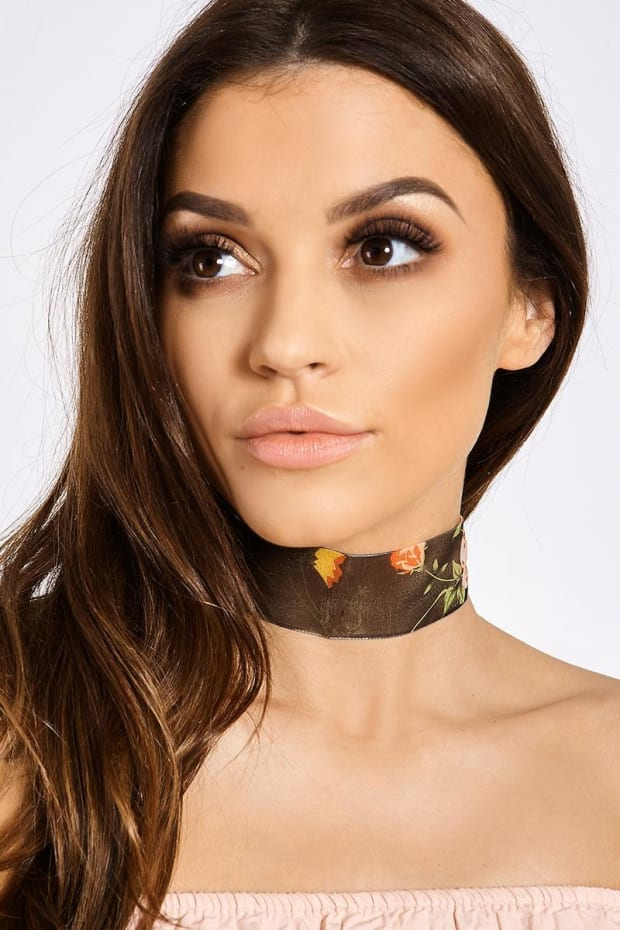 BLACK SHEER FLORAL CHOKER
