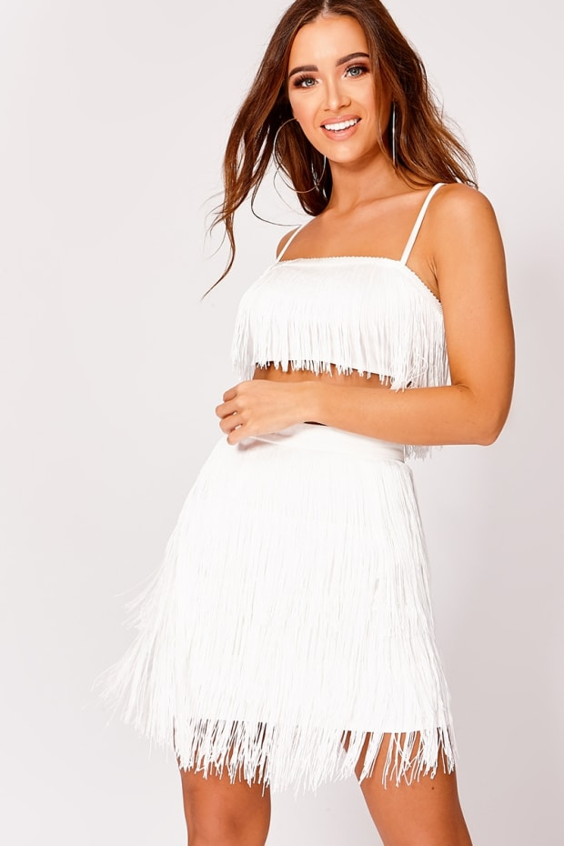 KOOPER WHITE TASSEL CROP TOP