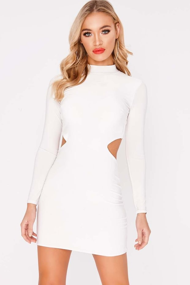 CHARLOTTE CROSBY WHITE LONG SLEEVE BACKLESS DRESS