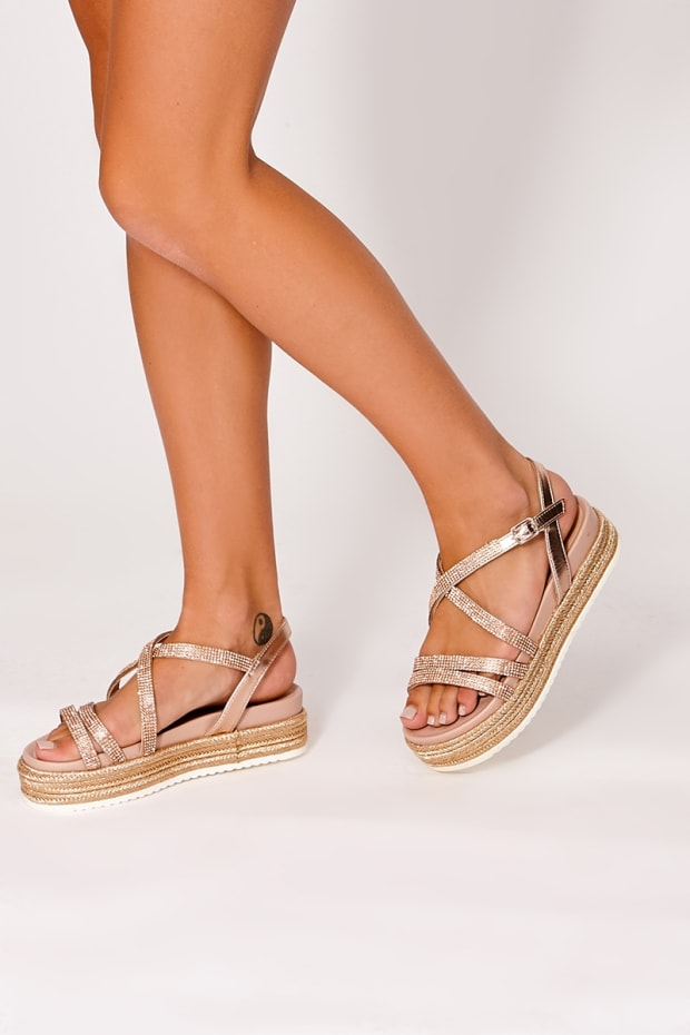 JACEE ROSE GOLD DIAMANTE STRAPPY ESPADRILLES