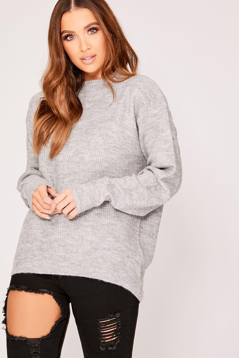 a93ecc91b4bb Ivone Grey Oversized Knitted Jumper