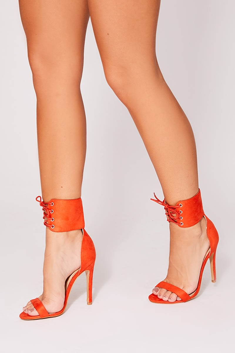 6c5f654fa63 Margy Orange Lace Up Detail Barely There Heels