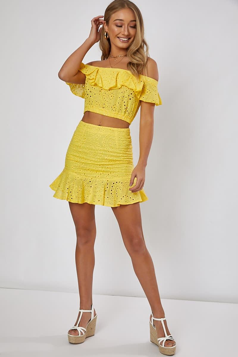 7b248aee0a Nilly Yellow Frill Hem Detail Mini Skirt