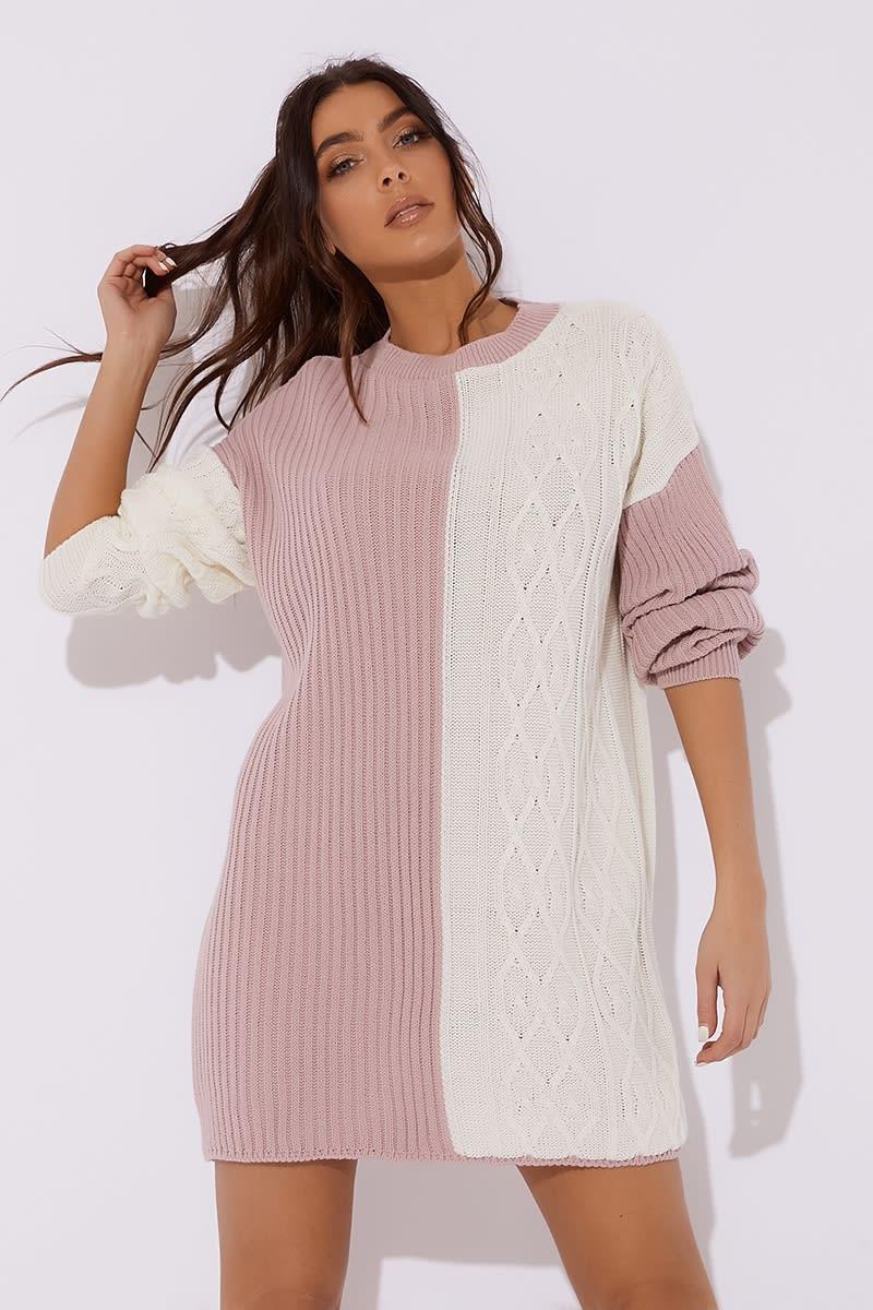 Dani Dyer Pink Contrast Oversized Jumper Dress  f3d814a72