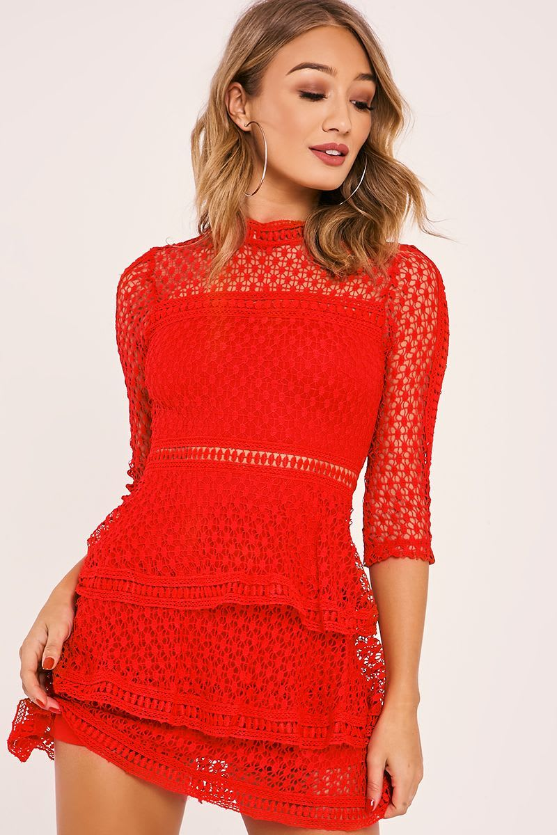 Amya Red Crochet Lace Layered Dress In The Style Australia
