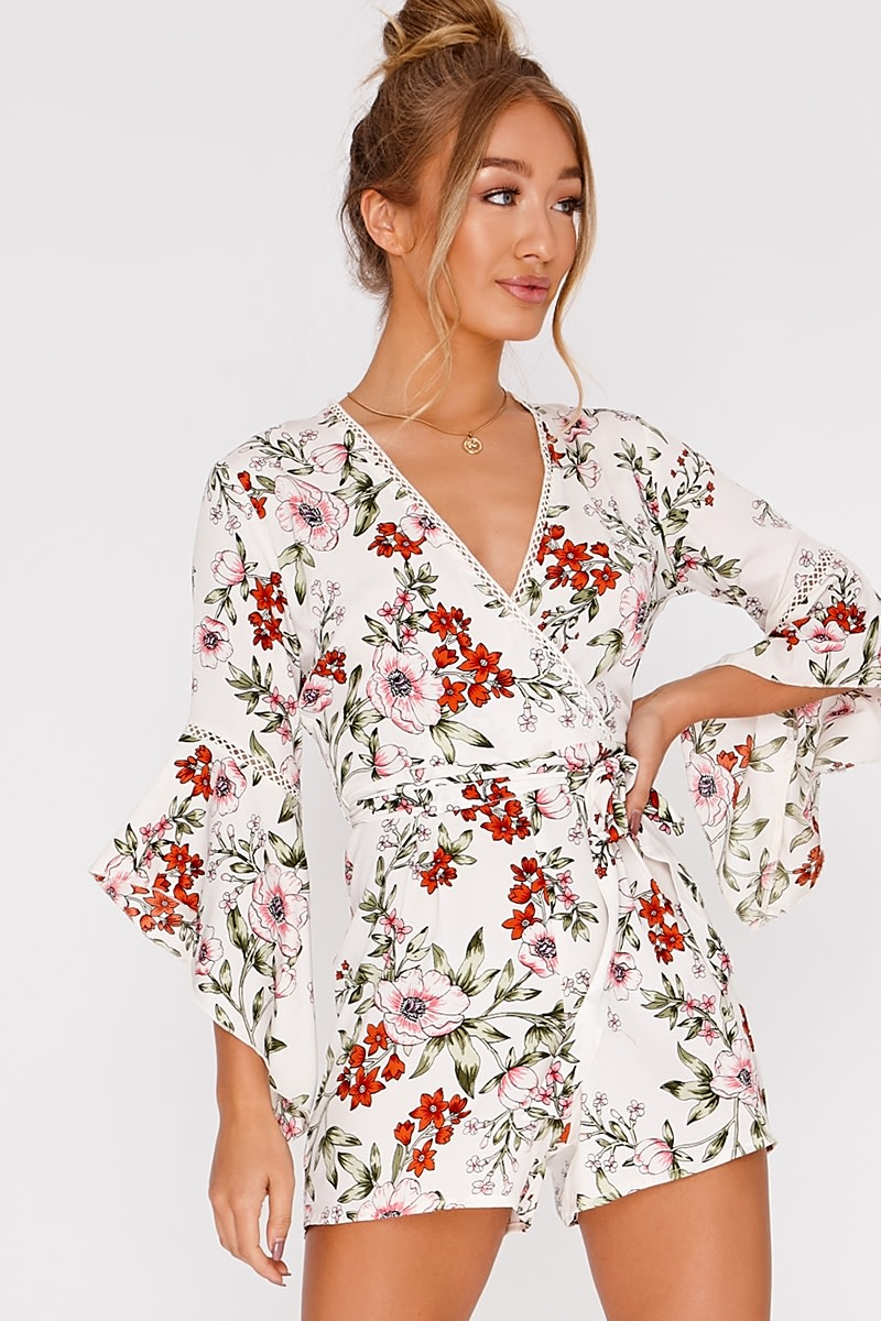 b442b13d04b2 Isobell White Floral Wrap Playsuit