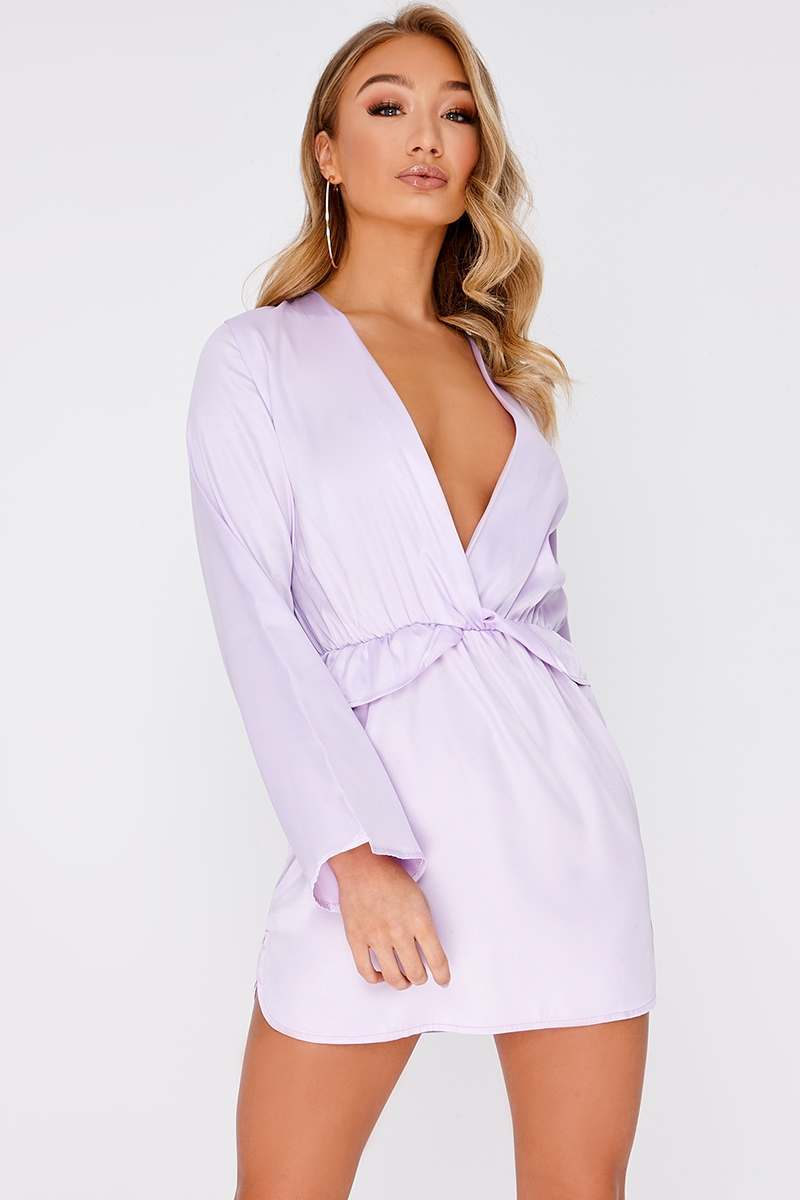 48a91c25507d6 Cazzy Lilac Satin Plunge Frill Dress