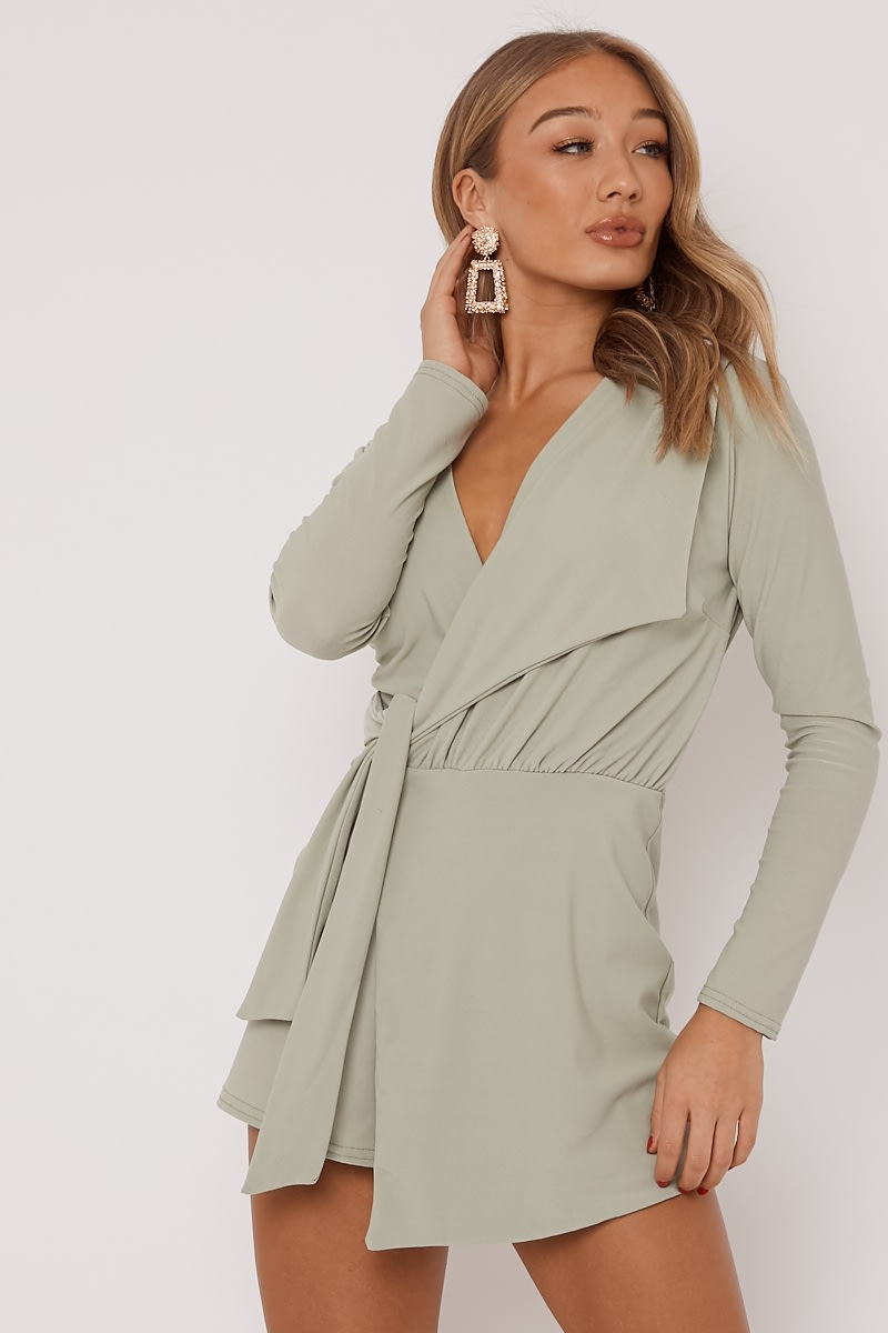 a85cba85e1c Franklyn Sage Plunge Wrap Over Playsuit