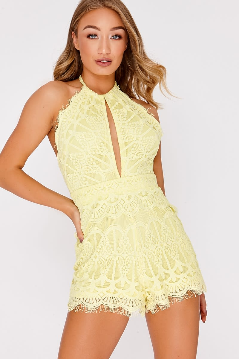 983b6dbc1d88 Azalia Yellow Crochet Lace Halterneck Backless Playsuit