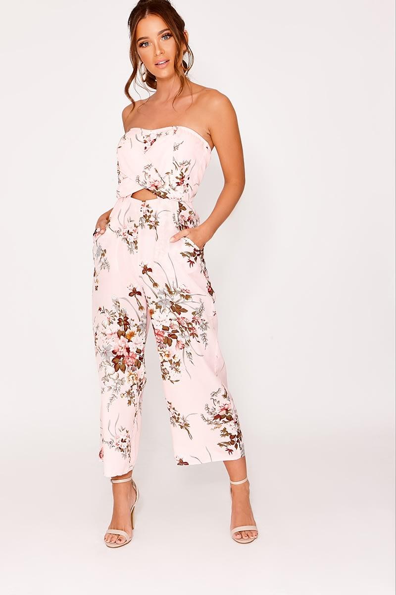 742115f553dd Dionee Pink Floral Bandeau Culotte Jumpsuit