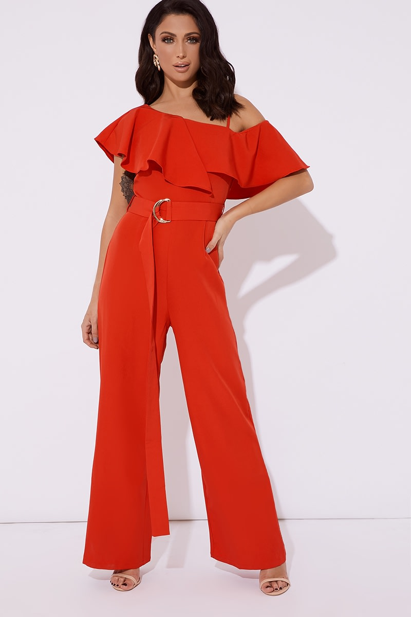 936b7be3f513 Jessy Red Frill One Shoulder Belted Wide Leg Jumpsuit