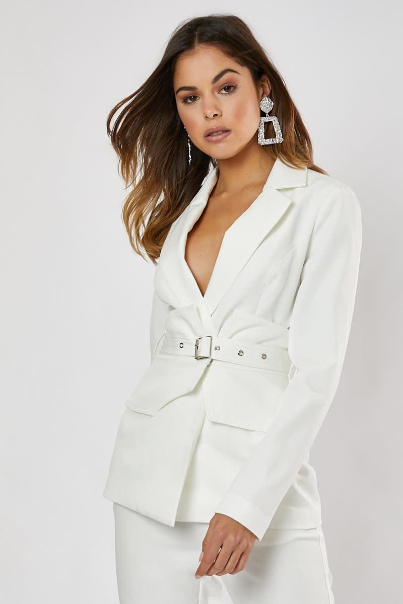 a8facd7d89e Heidi White Corset Detail Belted Blazer