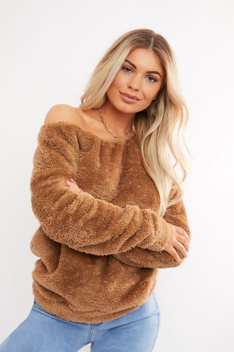 39be2512a Milagro Camel Teddy Fur Off Shoulder Sweat