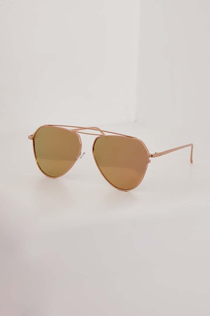 Rose Gold Mirrored Aviator Sunglasses  536c089918f