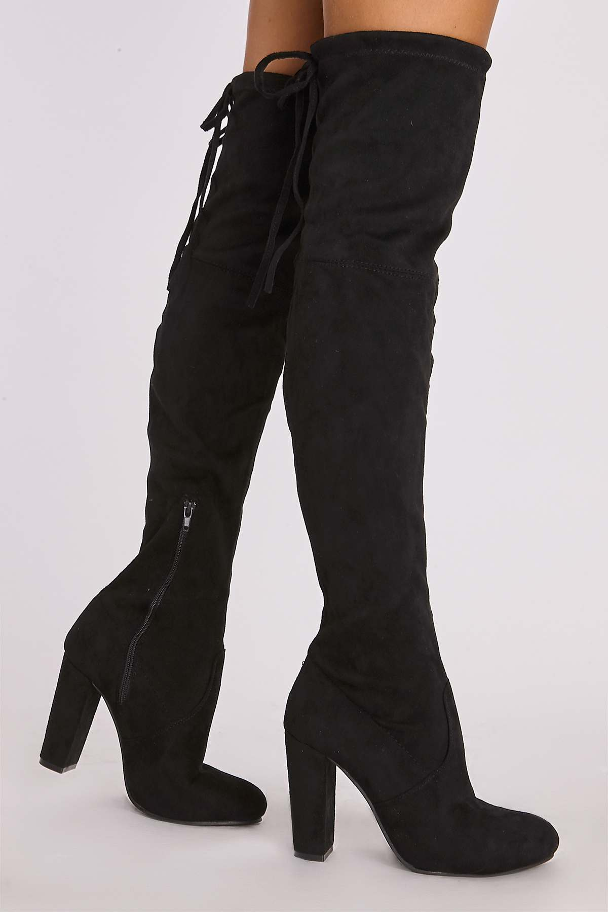 a5f9c81829e22 Remi Black Faux Suede Over The Knee Heeled Boots