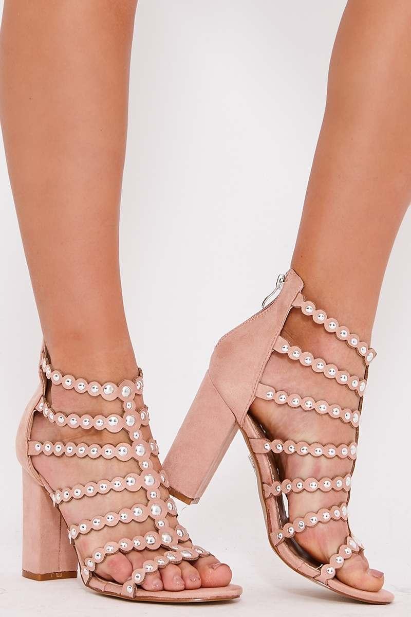 8bb570ab361 Sara Nude Studded Caged Block Heel Sandals