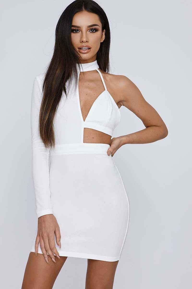 00da1e8865e Sarah Ashcroft White Asymmetric High Neck Mini Dress