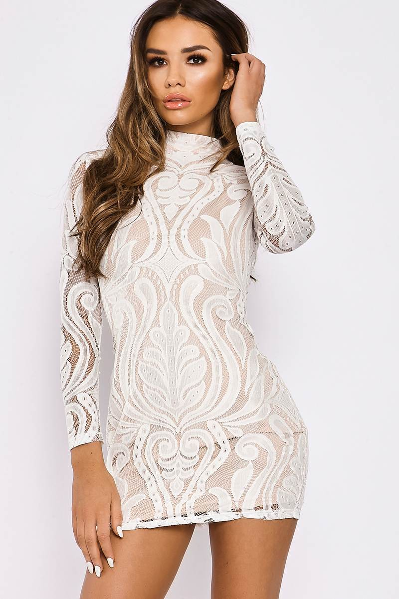 70d9919a70f5 SARAH ASHCROFT WHITE FLOCKED LACE HIGH NECK MINI DRESS