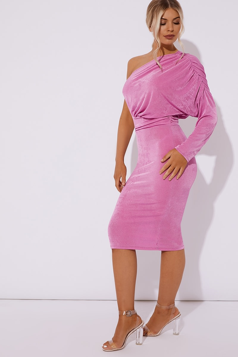 84496e6fef22 Diamona Pink One Shoulder Acetate Slinky Midi Dress