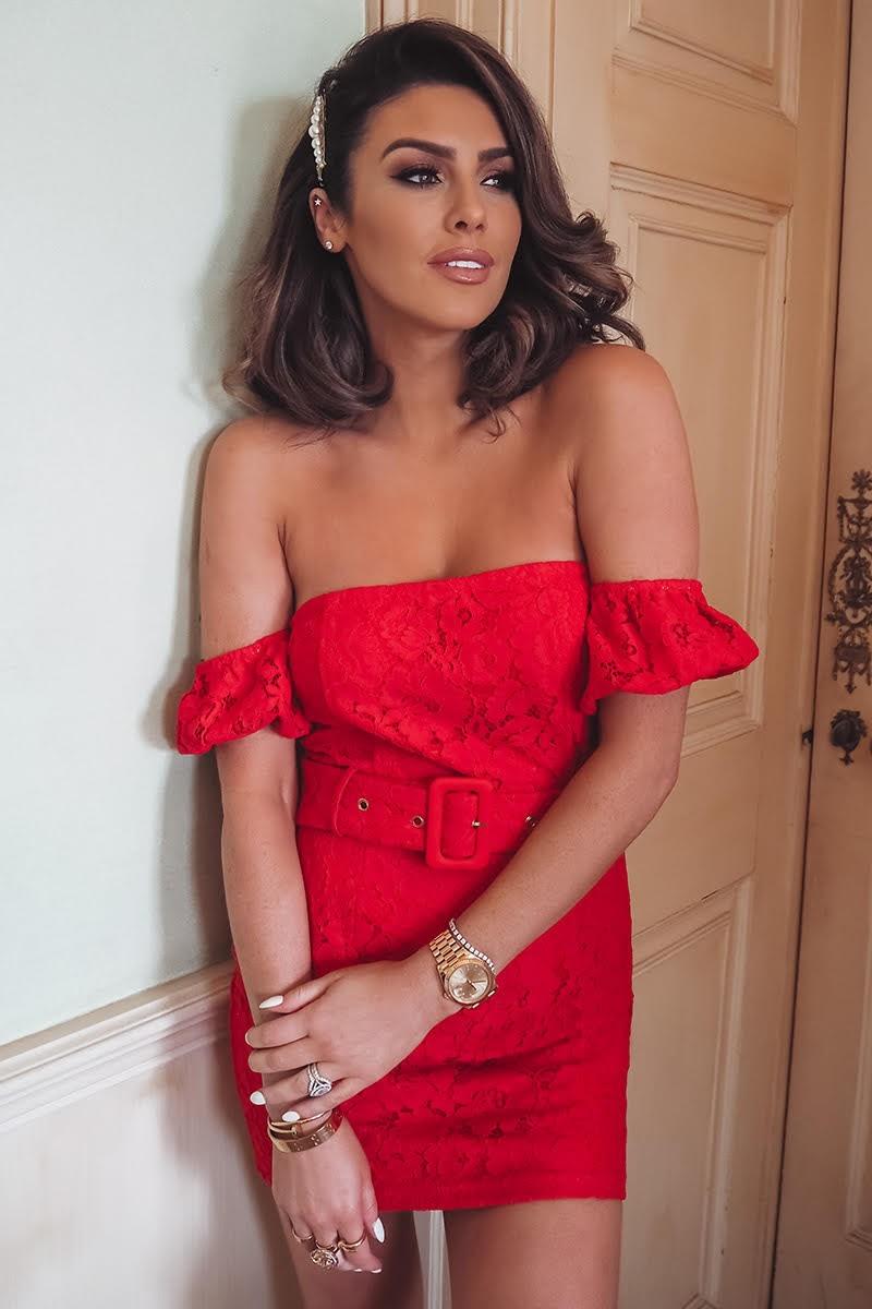 Suzanne Jackson Red Lace Puff Sleeve Bardot Mini Dress  b35189ac9