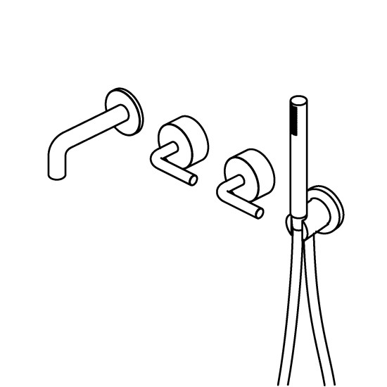 Levo: Wall mount 2 mixers and hand shower set with spot in different versions