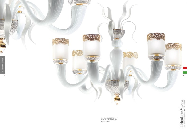 1770/CH6/BI/LU: A contemporary chandelier in Murano Glass
