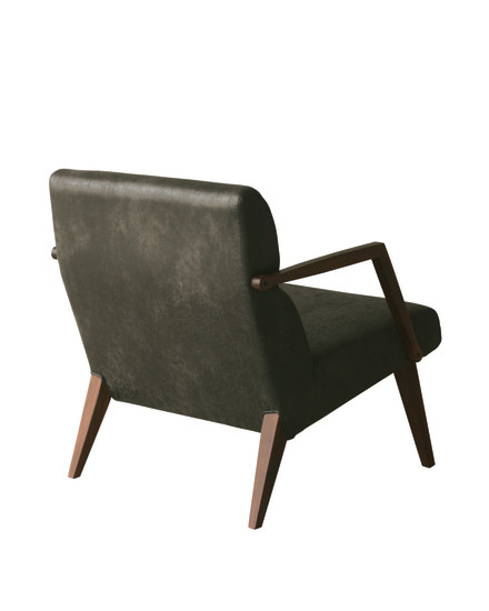 Attesa 02: Armchair in solid walnut upholstered in different materials