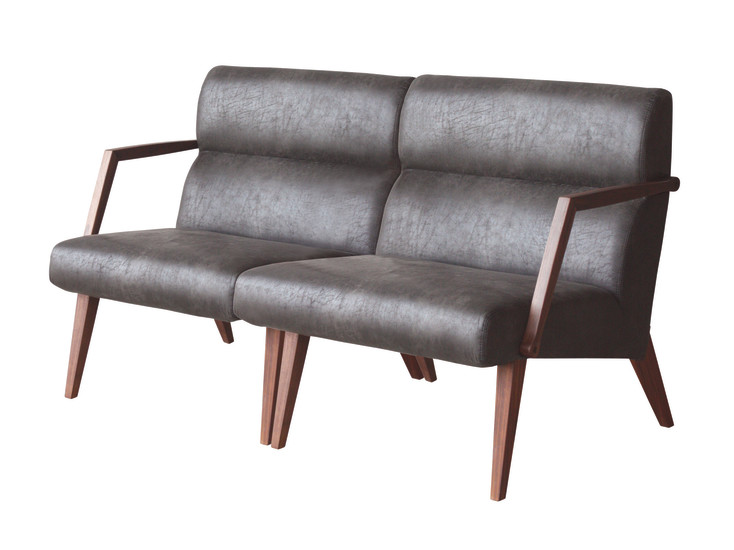 Attesa 02: Small sofa in solid walnut upholstered in different materials