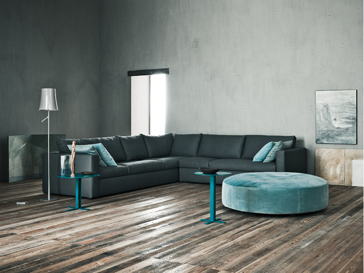 Biscotto: Pouf Ø130 cm H 37 cm on casters, upholstered in different materials